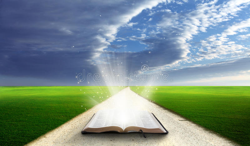 Open bible in field. Open bible in a field with green grassy hills royalty free stock photos
