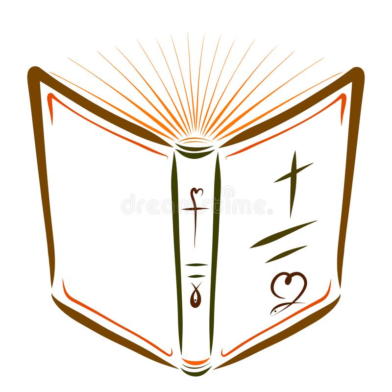 Open Bible with pages similar to the shining sun.  royalty free illustration