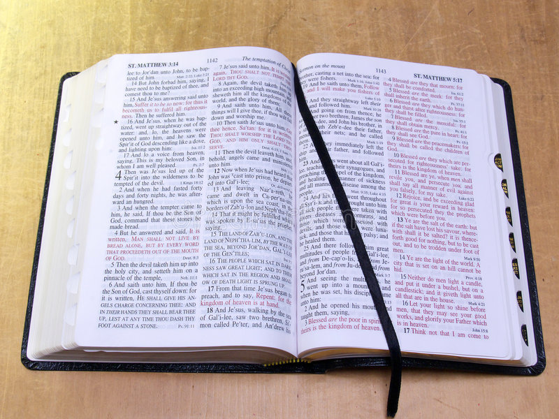 Open Bible with ribbon royalty free stock photos
