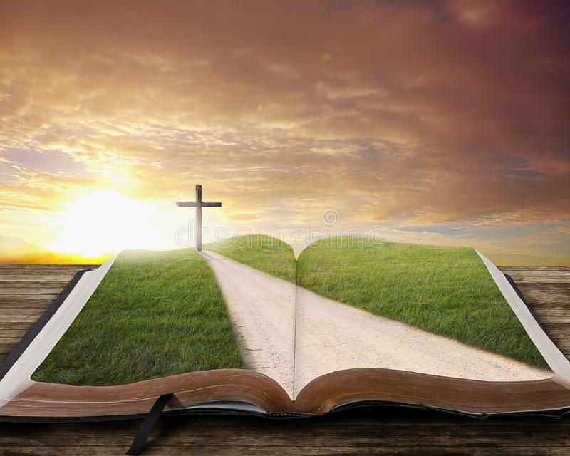 Open Bible with road. An open Bible with a road and grassy field leading to a cross