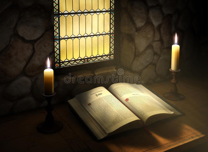 Open Bible in Sunlight royalty free illustration