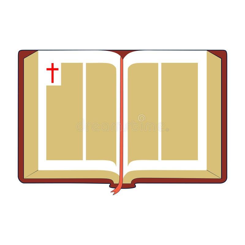 Open Bijbel Vlakke illustratie stock illustratie