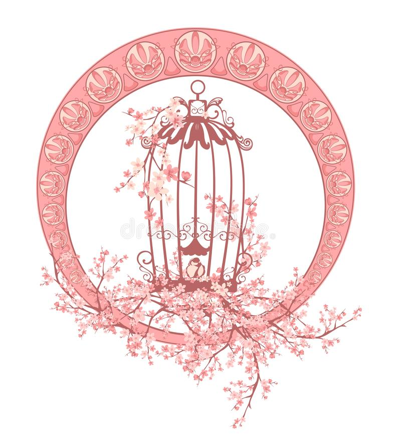 Birdcage and sakura blossom art nouveau style vector frame stock illustration