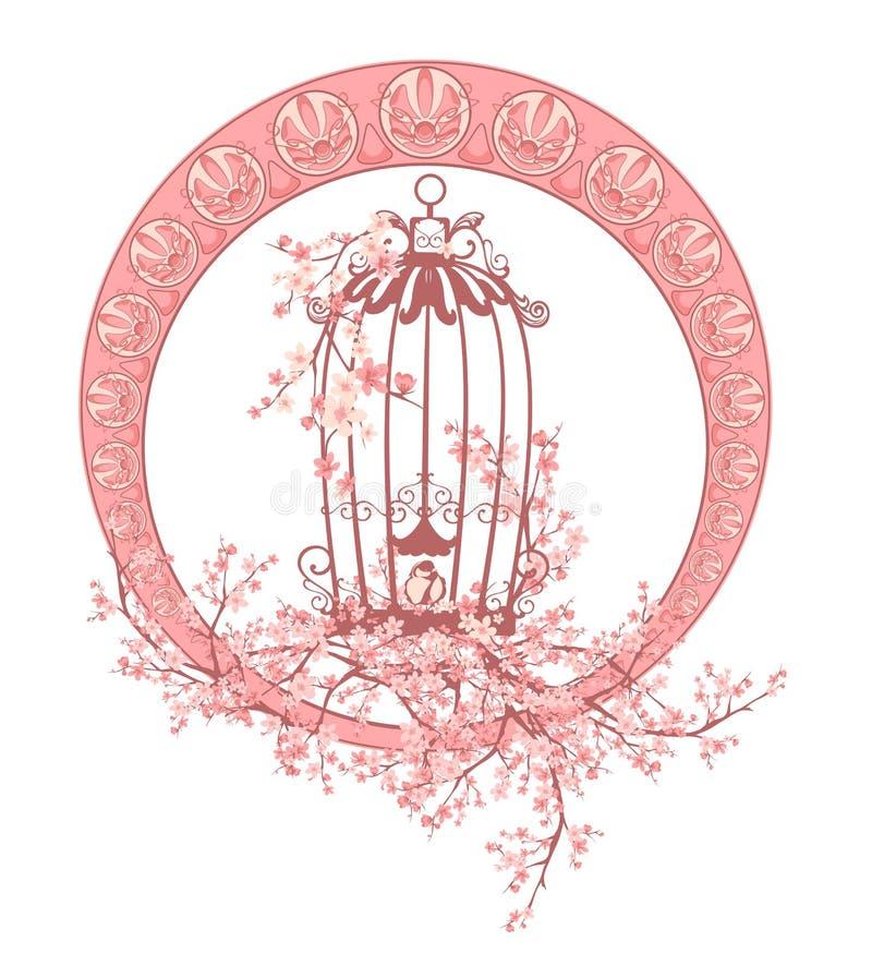 Birdcage and sakura blossom art nouveau style vector frame stock illustration
