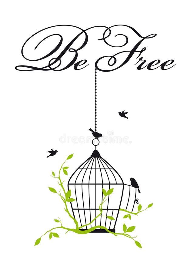 Open birdcage met vrije vogels, vector royalty-vrije illustratie