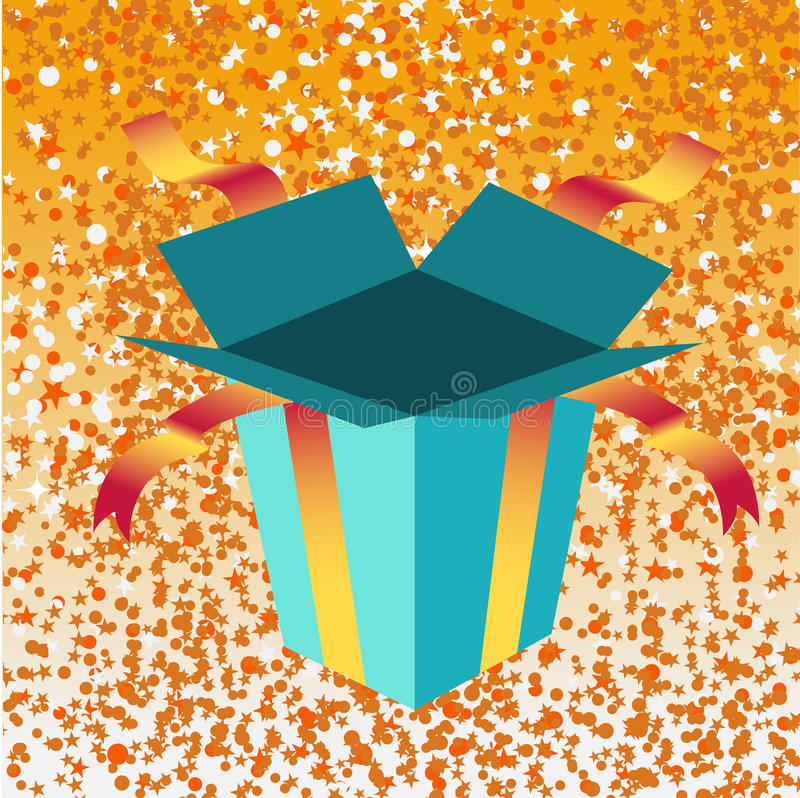 Open birthday giftbox vector illustration