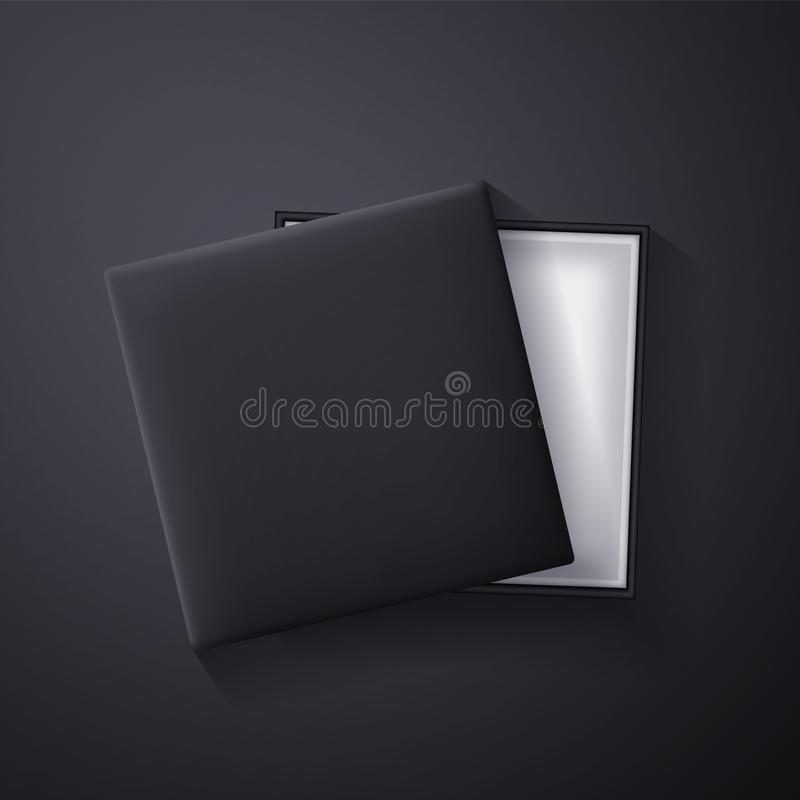 Open black empty gift box on dark background. Top view. Template for your presentation, banner or poster. Vector illustration vector illustration