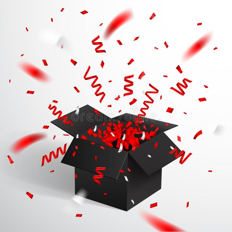 Free Open Black Gift Box And Confetti. Christmas And Valentine Background. Vector Illustration Royalty Free Stock Image - 137744576