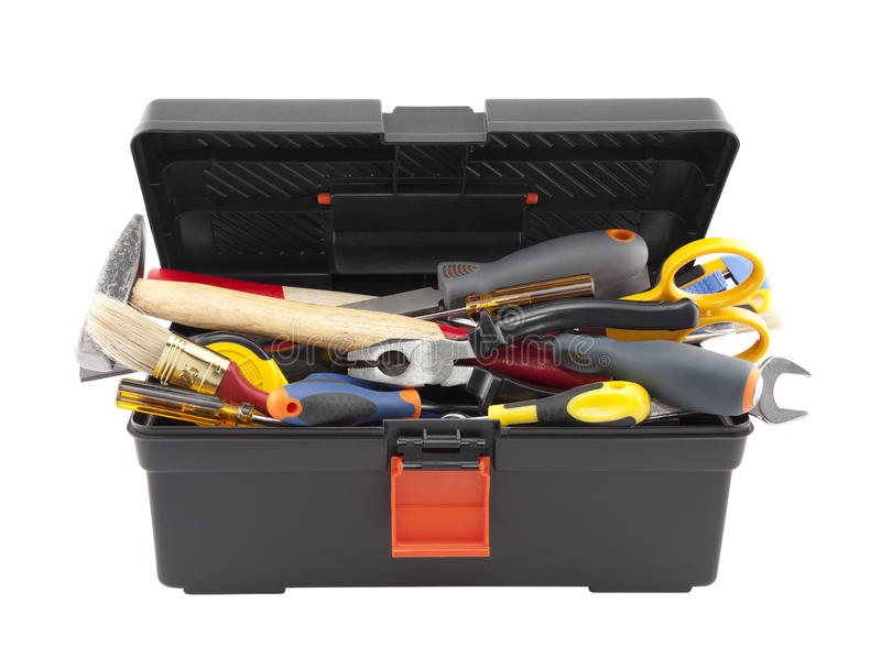 Open black toolbox with tools royalty free stock photography