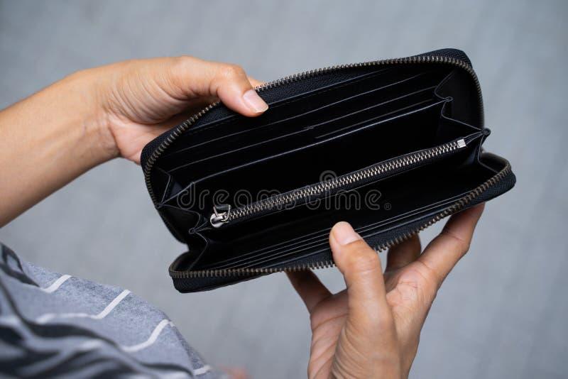 Open blank black leather wallet stock photos