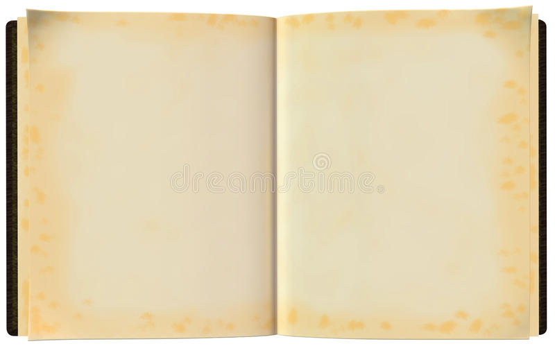 Open Blank Book Illustration Isolated. Open book illustration with blank pages that have yellowed. Isolated on white vector illustration