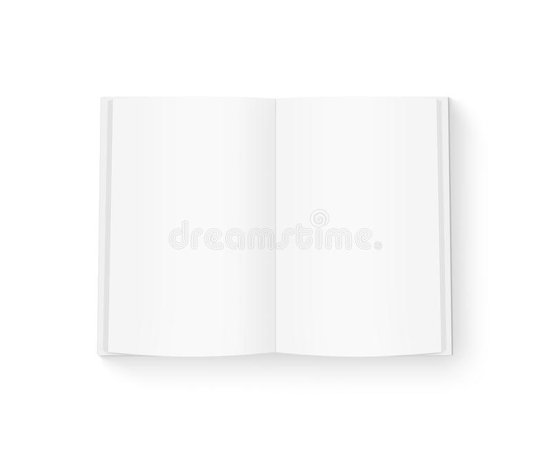 Open blank book mock up isolated on white. stock photo