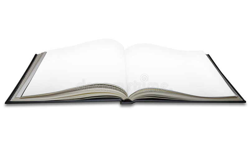 Open blank book pages stock image