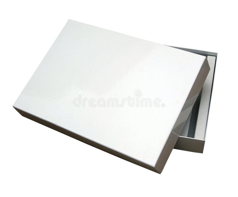 Open blank box w/ path stock photo