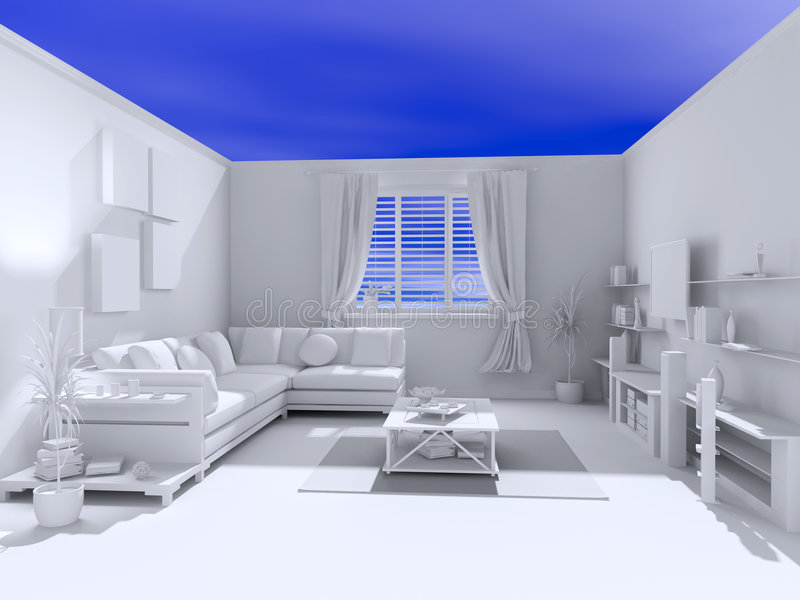 The open blank interior. Over blue sky background (3D royalty free illustration