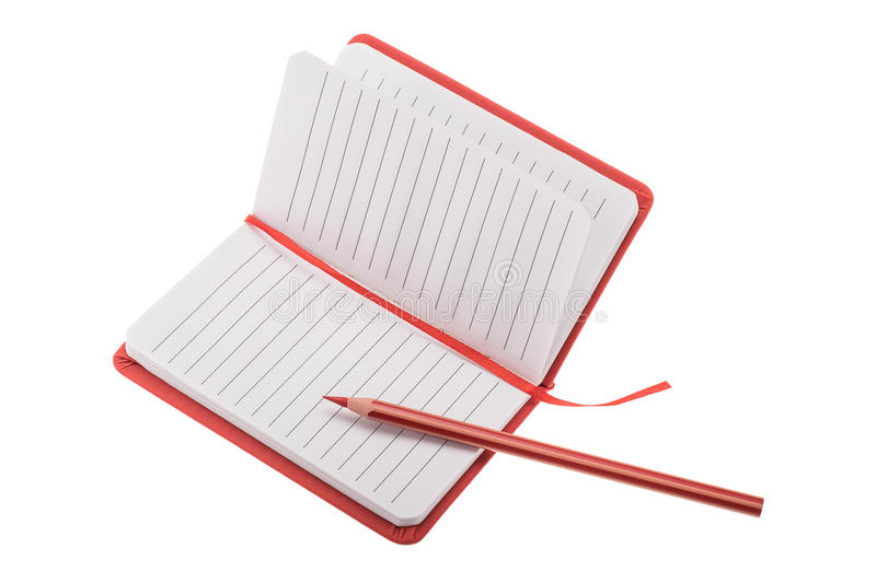 Open blank lined notebook with pencil stock photo