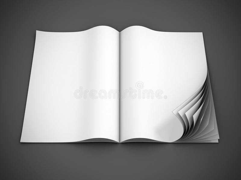 Download Open Blank Magazine With Curl Pages Stock Illustration - Image: 23118033