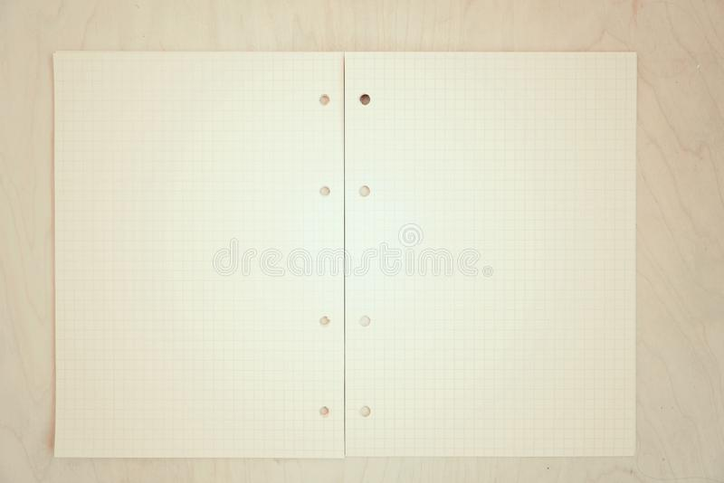 An open blank notebook, pages in a cage. Copy space royalty free stock photo