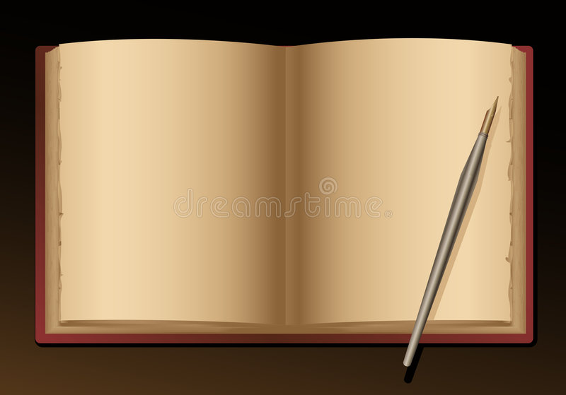 Open blank old book and pen. Vector stock illustration