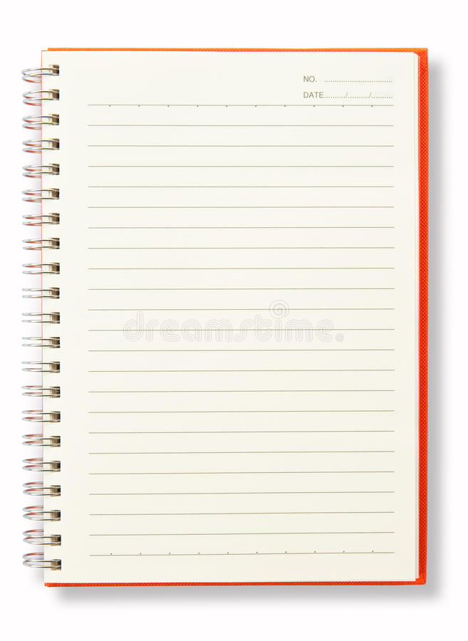 Download Open Blank Page Orange Note Book Stock Photo - Image: 16309910