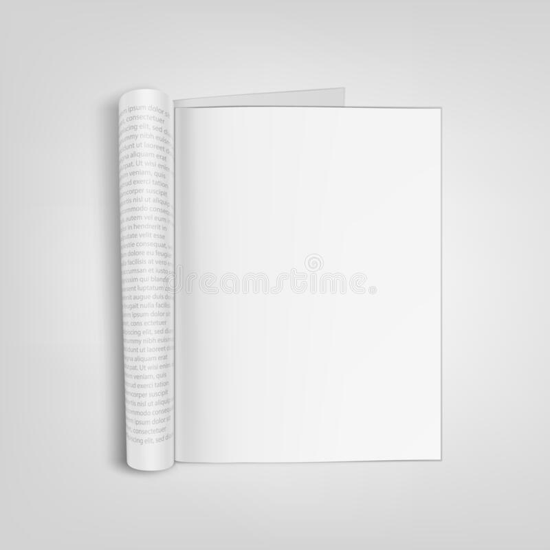 Open Blank Paper Journal With Clear Page royalty free illustration