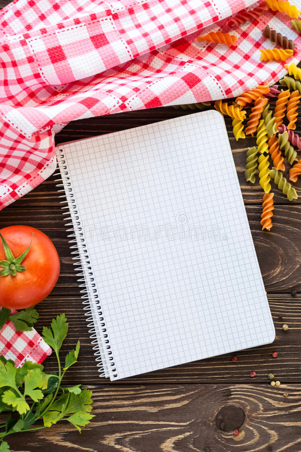 Open Blank Recipe Book On Wooden Background Stock Image - Image of ...