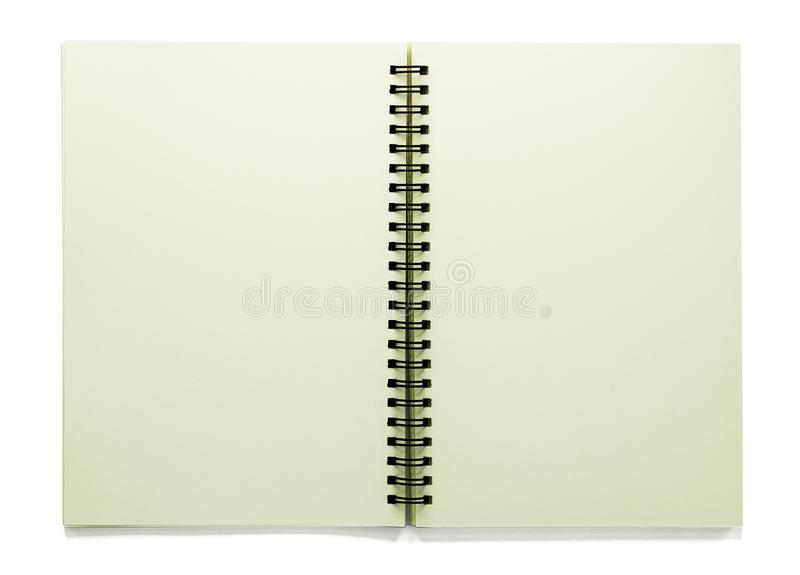 Open blank sketchbook isolated on white background with clipping path royalty free stock image