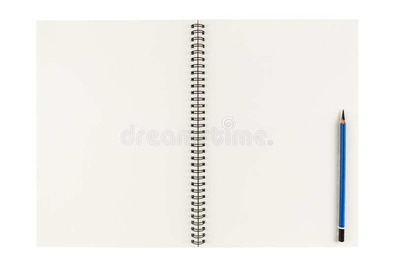 Open blank sketchbook with pencil isolated on white background royalty free stock photos