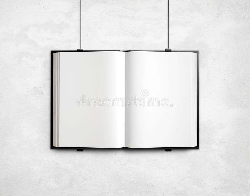 Open blank textbook on white concrete wall vector illustration