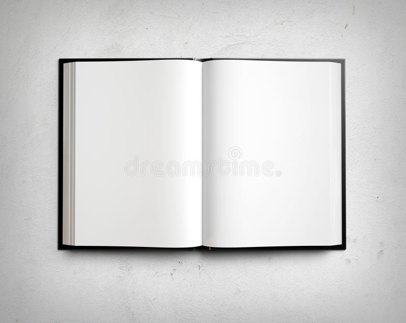 Open blank textbook on white stucco wall stock illustration