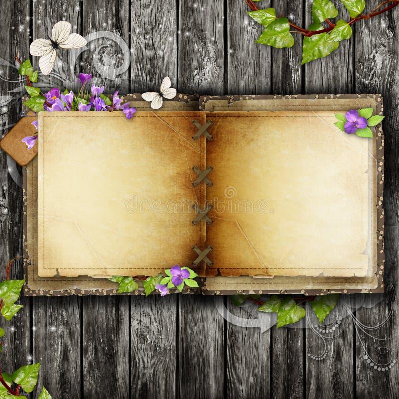 Download Open blank vintage book stock illustration. Illustration of crocus - 23547009