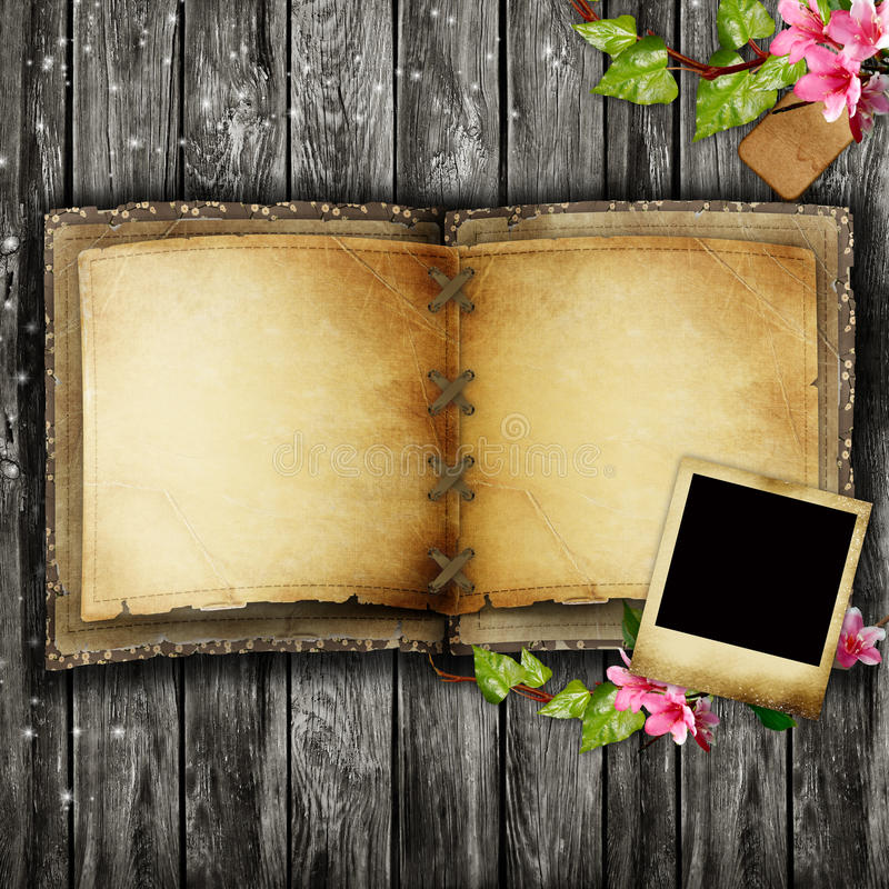 Download Open blank vintage book stock photo. Image of flowers - 23547040