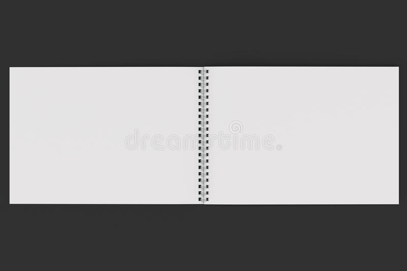 Open blank white notebook with metal spiral bound on black background. Business or education mockup. 3D rendering illustration royalty free illustration