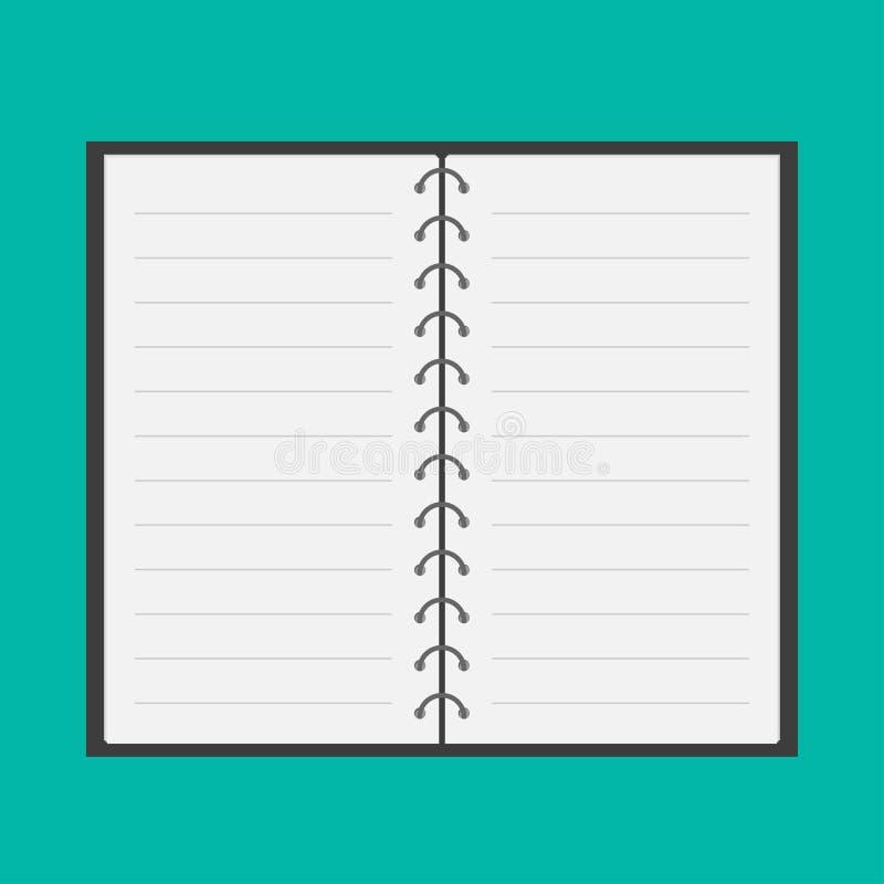 Open blocnote met spiraal en spatie gevoerd document. Vlak ontwerp. stock illustratie