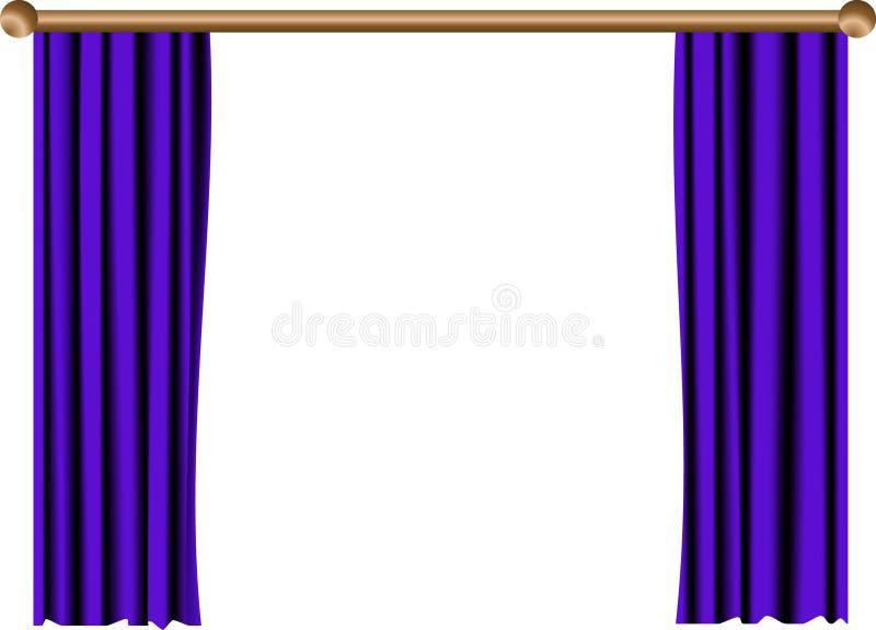 Open blue curtain royalty free illustration
