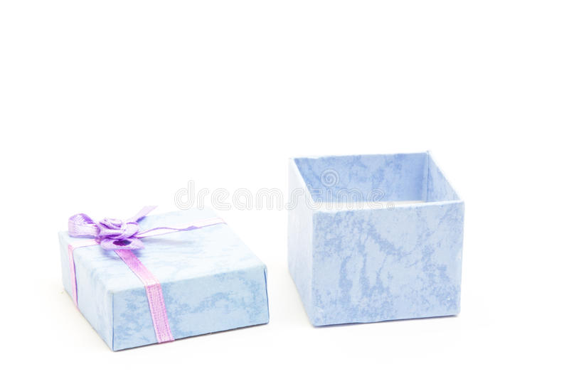 Open Blue Gift Box With Purple Ribbon Royalty Free Stock Photography
