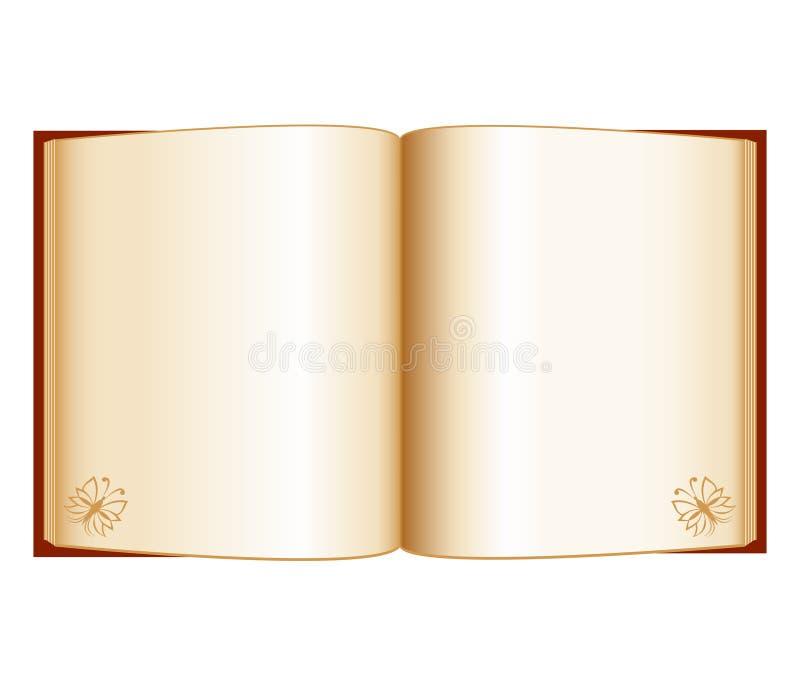 Open boek dat op een witte achtergrond wordt geïsoleerdo stock illustratie