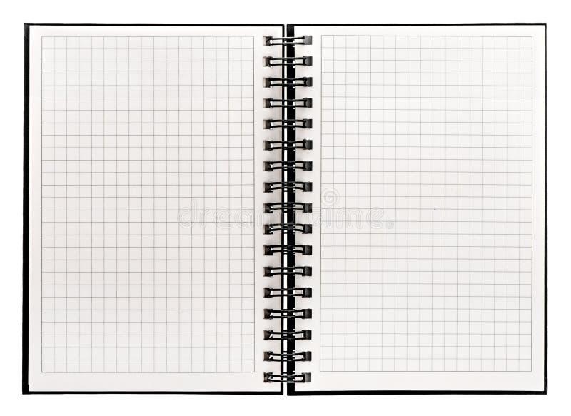 Open boek dat op witte achtergrond wordt geïsoleerdl notitieboekje met spiraalvormige bak stock fotografie