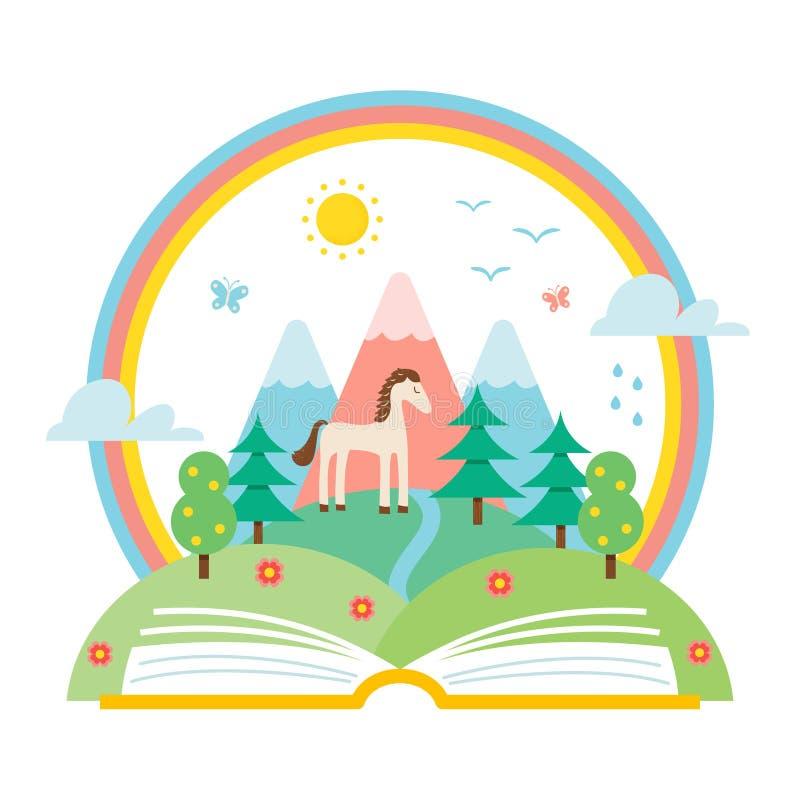 Open Boek en Aardlandschap van Heuvels en Regenboog Wetenschap en Aardstudieillustratie royalty-vrije illustratie