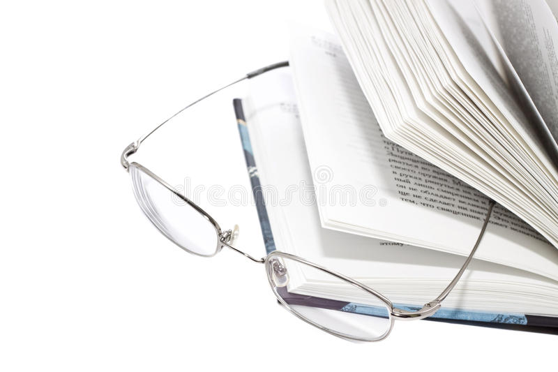 Open Boek en Glazen royalty-vrije stock foto