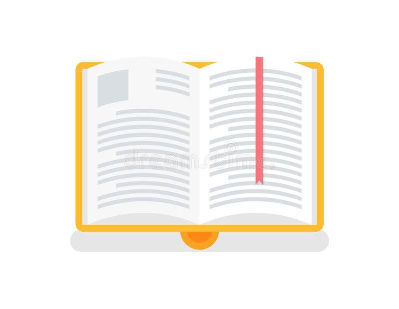 Open Boek in Gele Dekking met Referentievector vector illustratie