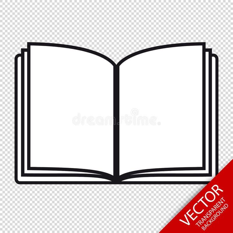 Open Boek - het VectordiePictogram van Editable - op Transparante Achtergrond wordt geïsoleerd vector illustratie