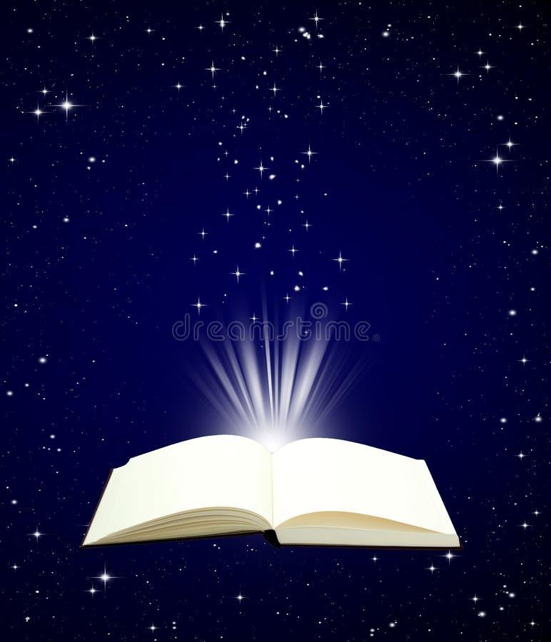 Open boek magisch op de achtergrond van de nachthemel stock illustratie
