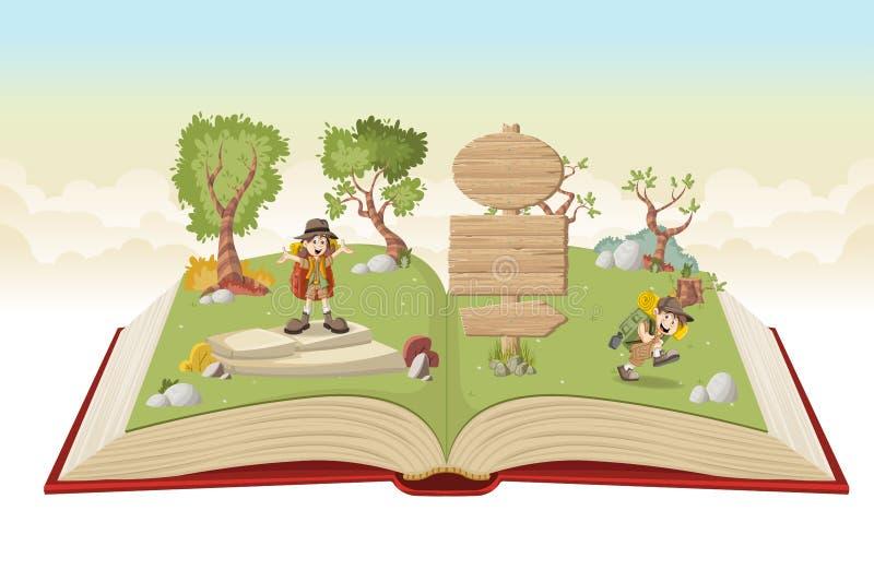 Open boek met beeldverhaaljonge geitjes in ontdekkingsreizigeruitrusting vector illustratie