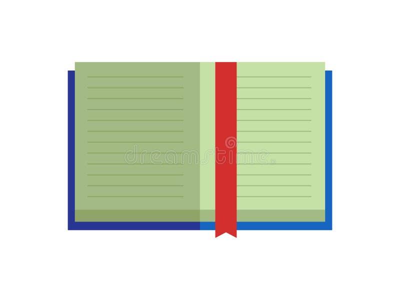Open boek met blauwe dekkings rode referentie Onderwijs vlak vector geïsoleerd pictogram stock illustratie