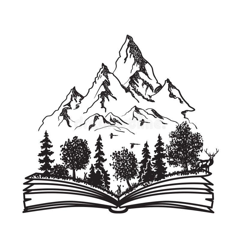 Open boek met bos en bergen stock illustratie