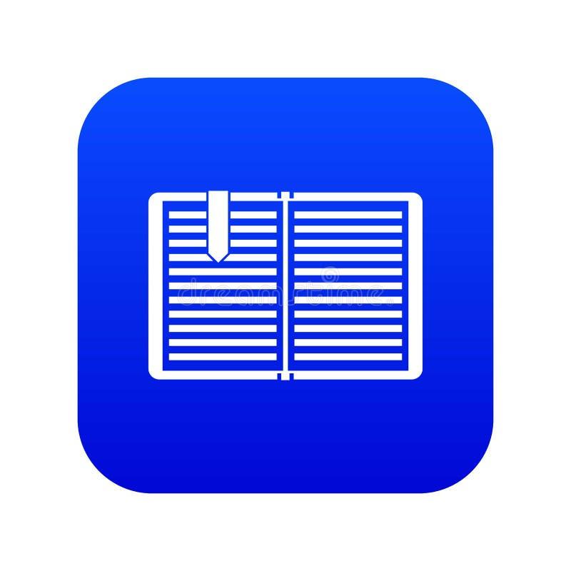 Open boek met een digitaal blauw van het referentiepictogram royalty-vrije illustratie