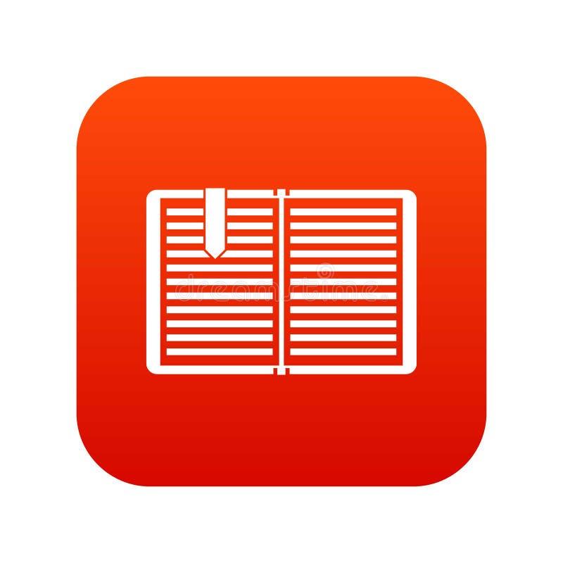 Open boek met een digitaal rood van het referentiepictogram royalty-vrije illustratie