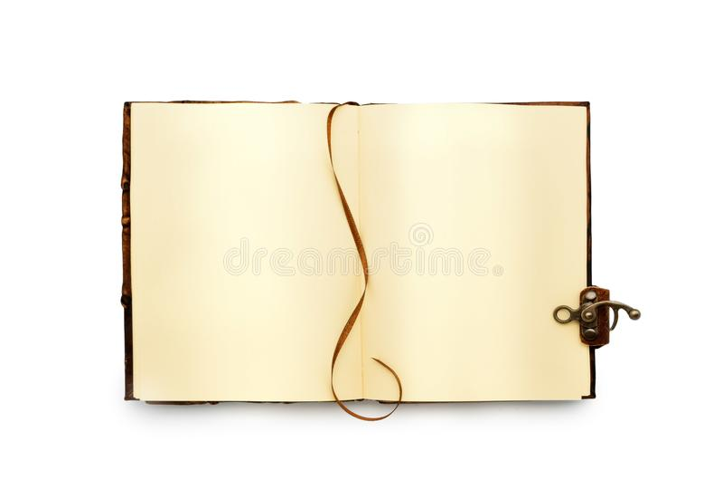 Open boek met gele pagina's, met een referentie Leer het binden met slot Geïsoleerde Uitstekende hoogste mening royalty-vrije stock foto