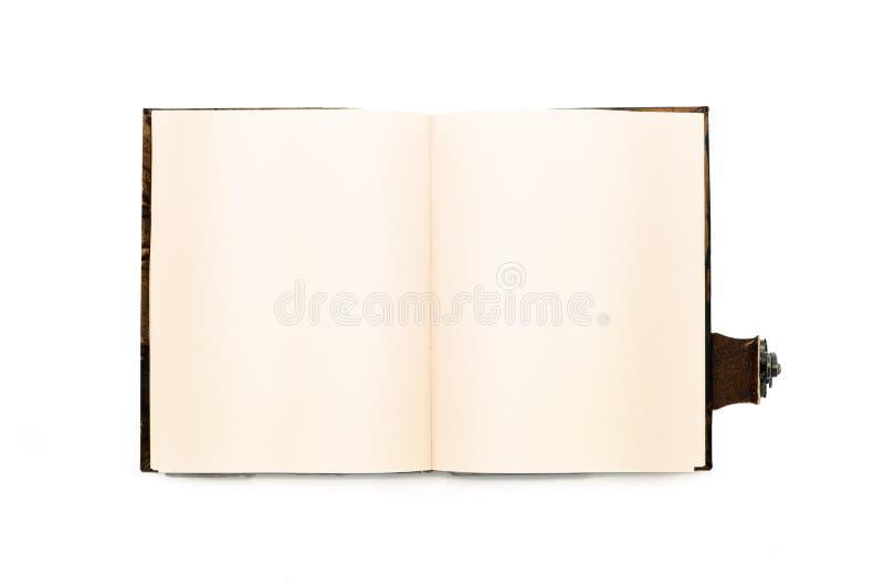 Open boek met gele pagina's Geïsoleerde Uitstekende hoogste mening stock afbeeldingen
